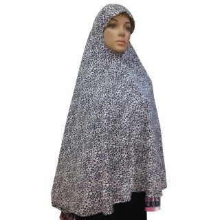Jumbo Prayer Hijab Large-Black & White Print