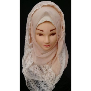 Wrap hijab -  Peach with lace work