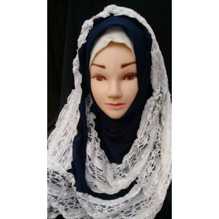 Wrap hijab -  Navy blue with lace work