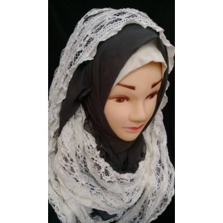 Lace wrap hijab - Cocoa brown