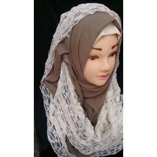 Wrap hijab -  Millbrook color with lace work