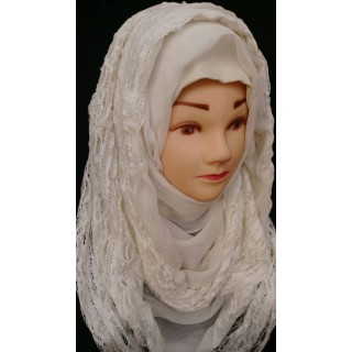 Lace hijab wrap -  Off-white