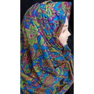 Blue Color multi printed Hijab - Cotton Fabric