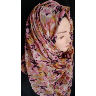 Pink colored  Multi printed cotton hijab