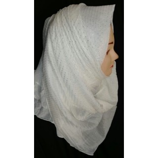 White Dots Hijab -Cotton Fabric