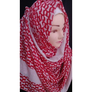Red Ring Hijab - Cotton Fabric