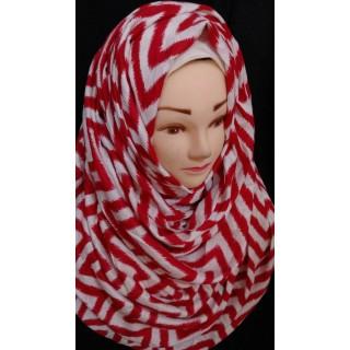 Red Zig-Zag printed hijab