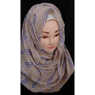 Grey leaf hijab - Cotton Fabric