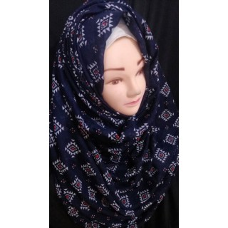 Navy Blue Printed Hijab -  Cotton Fabric