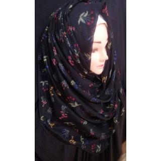 Black Flower printed hijab - Cotton Fabric