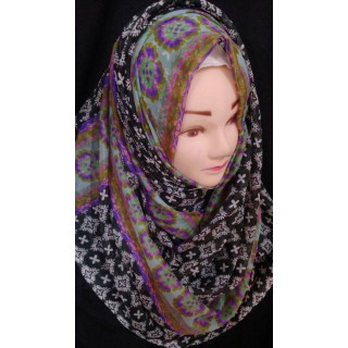 Black Printed Hijab- Silk Fabric