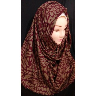 Maroon Color Printed Hijab - Cotton Fabric