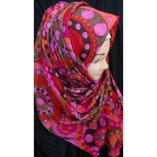 Magenta color design Hijab - Cotton Fabric