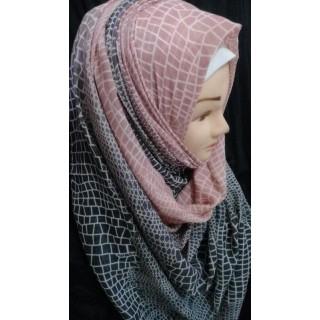 Coral Pink Printed Hijab- cotton hijab