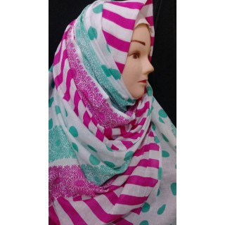 Multi Colored strip design Hijab - Cotton Fabric