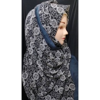 Black printed Hijab - Cotton Fabric