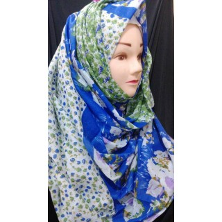 Royal blue Color Printed hijab - Mix Cotton Fabric