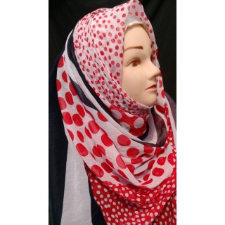 Red Polka Dots Hijab - Chiffon Fabric