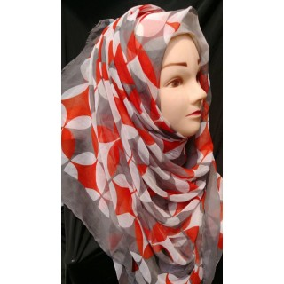 Grey colored Red printed hijab  -Chiffion Fabric
