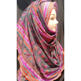 Grey Multi printed Hijab -  Silk Fabric