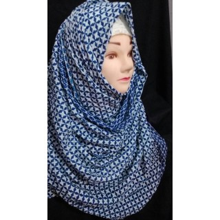 Blue-White print hijab  - Cotton Fabric