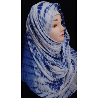 Hijab- Blue chunary print on cotton fabric