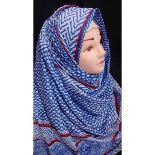 Blue red striped cotton hijab - Cotton Fabric