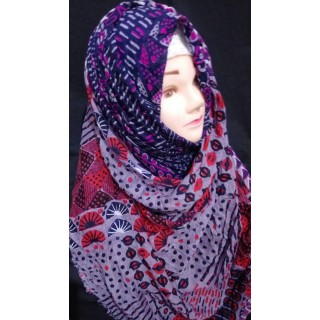 Purple multi cotton hijab - Cotton Fabric