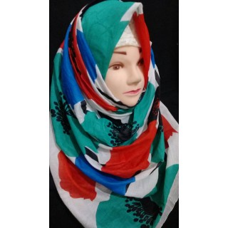 Flowery cotton hijab  - Cotton Fabric