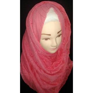 Reddish glitter hijab - Cotton Fabric
