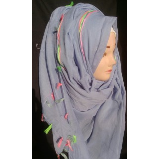 Blue colored hijab with neon strip and pom - Cotton Fabric