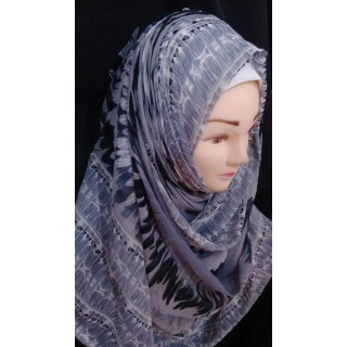 Grey printed wrap hijab - Chiffon fabric