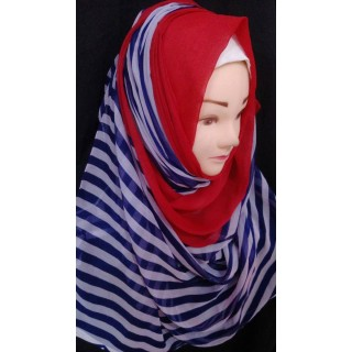 Stripped wrap hijab - Chiffon fabric