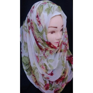 Off white chiffon hijab wrap - Red rose printed
