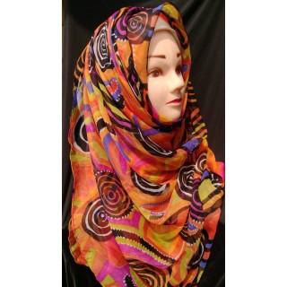 Multi printed chiffon wrap hijab