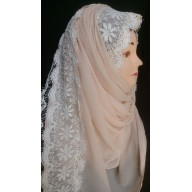 Peach- Lace hijab in Georgette