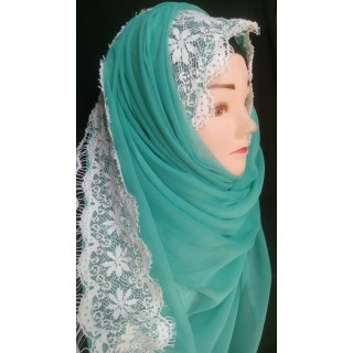 Lace Georgette hijab -Sky Blue