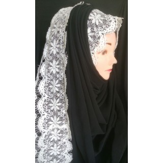 Wrap hijab -  Black with lace work