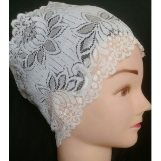Lace Hijab Band - Cream Colored