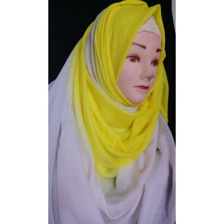 Yellow white double shade hijab- cotton fabric