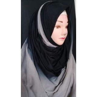 Black & Grey double shade hijab - Cotton Fabric
