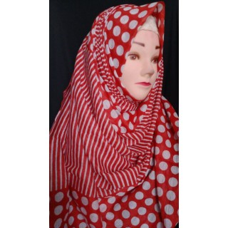 White polka dot hijab - Cotton Fabric