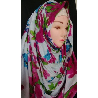 Multi Flowery design hijab - Cotton Fabric
