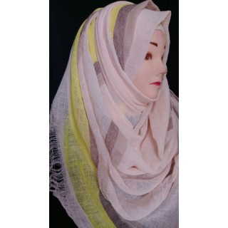 Baby pink with yellow border hijab- Cotton Fabric