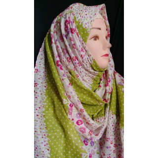 Green blossom Modest Hijab- cotton hijab