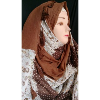 Brown blossom with pom pom hijab - Cotton Fabric