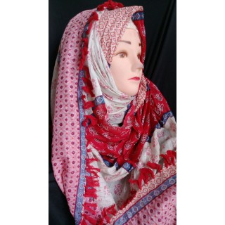 Reddish blossom hijab - Cotton Fabric