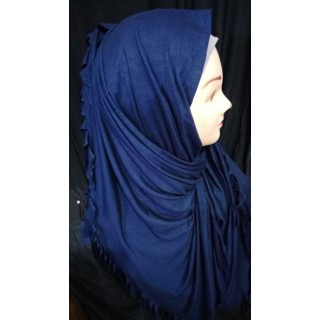 Navy blue solid jersey wrap hijab