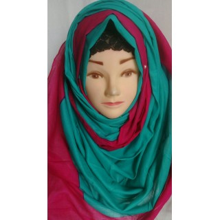 Green with Magenta border hijab- Cotton Fabric