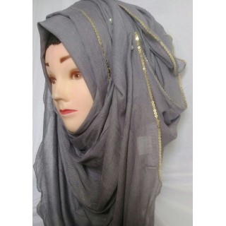 Dark grey  Color hijab - Cotton Fabric